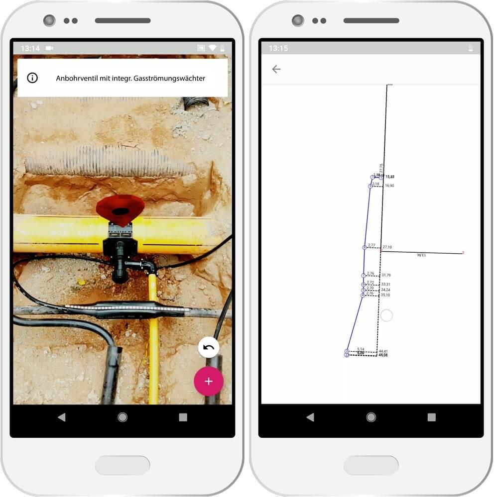 Mockup einer Vermessung mit der mobilen NAVA App